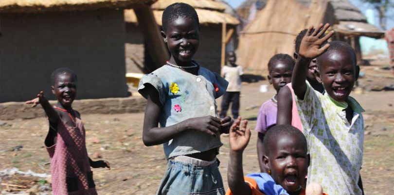 Waving children in South Sudan