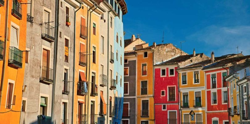 Colourful city buildings, Spain