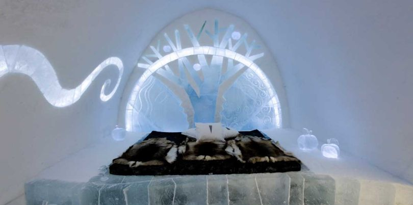 Big bed in the Ice Hotel in Sweden