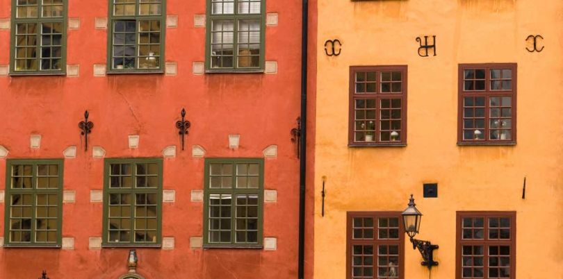 Red and Orange neighbouring houses, Sweden