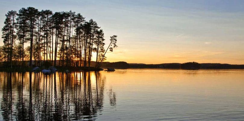 Sunset over lake in Sweden