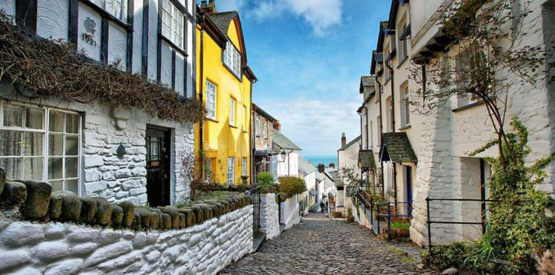 Cobbled street in Devon, UK