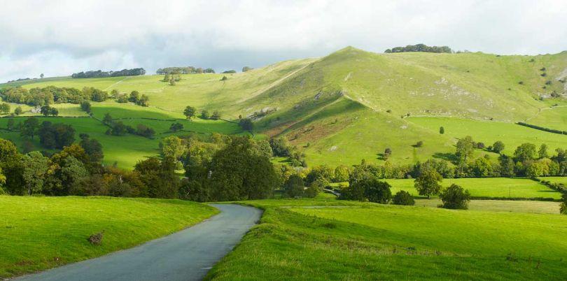 Green hills landscape UK